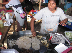 Santa Domingo market food tacos mexico