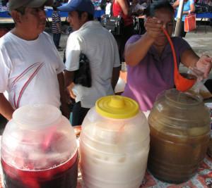 Santa Domingo market fresh fruit aguas mexico