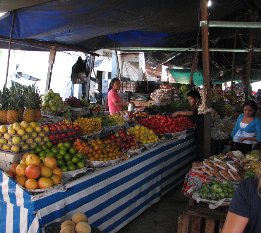 fresh fruit stand mexican market oaxaca
